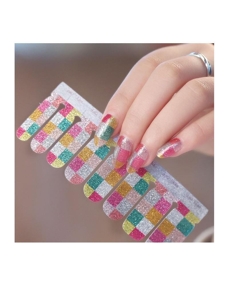 Shiny color checkerboard nail polish stickers