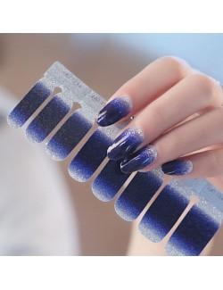 Autocollants de vernis à ongles dégradé violet bleu foncé brillant