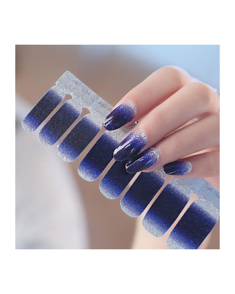 Shiny dark blue purple gradient nail polish stickers