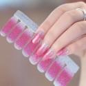 Shiny pink gradient nail polish stickers