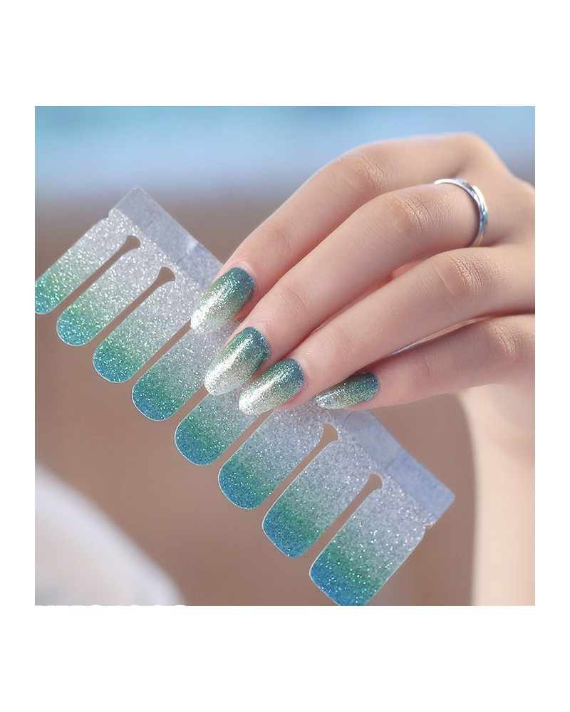 Lake blue gradient shiny nail polish stickers