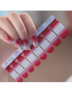 Autocollants de vernis à ongles brillant dégradé blanc rouge