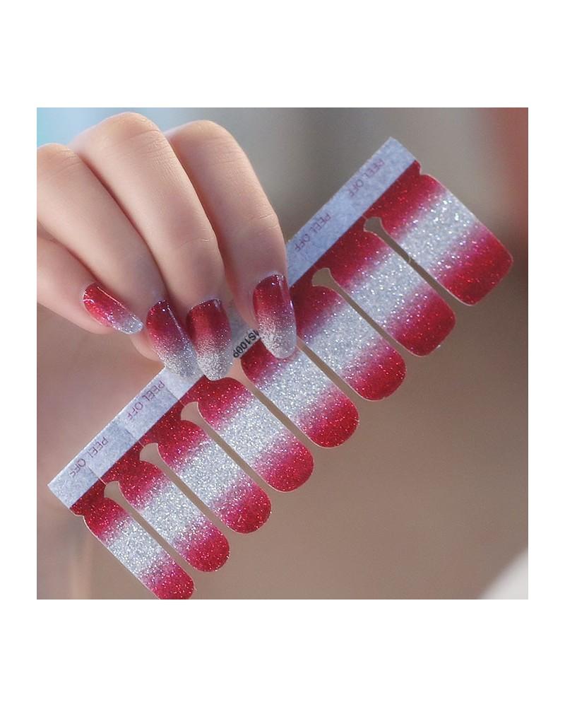 Red white gradient shiny nail polish stickers