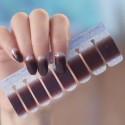 Dark brown silver gradient shiny nail polish stickers