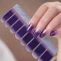 Purple silver gradient shiny nail polish stickers