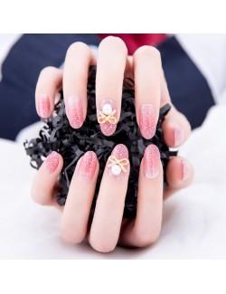 Autocollants de vernis à ongles solide scintillant rose grande taille