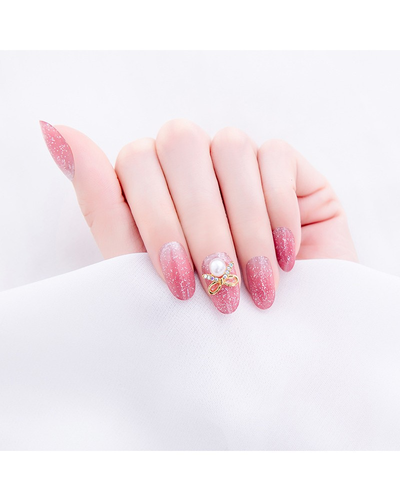 Rose sparkling solid nail polish stickers large size