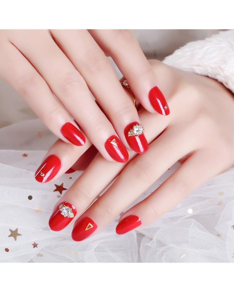 Scarlet solid varnish nail polish polish rhinestones stickers big size