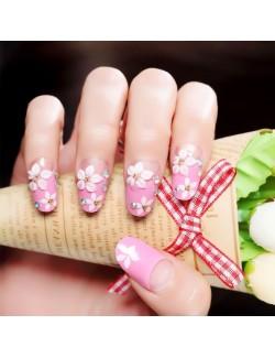 Vernis à ongles adhésif fleur rose rose faux ongles