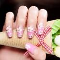 Rose pink flower adhesive nail polish fake nails