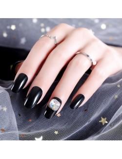 Vernis à ongles noir auto-adhésif avec zircon portable amovible noir faux ongles solides