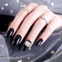 Black nail polish self-adhesive with zircon wearable removable black solid false nails