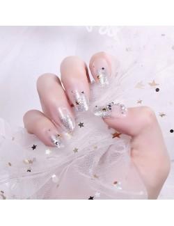 Transparent and silver sparkling nail polish self-adhesive false nails