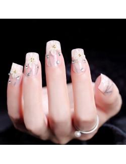 Vernis à ongles rose ongles en acrylique carrés auto-adhésifs