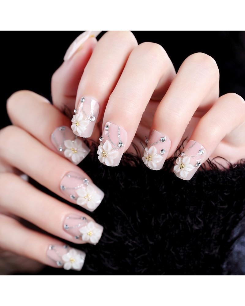 Rose nail polish self-adhesive square acrylic nails