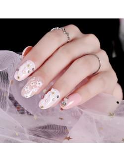 Jolies fleurs roses vernis faux ongles auto-adhésifs