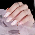 Cute pink flowers polish fake nails self-adhesive