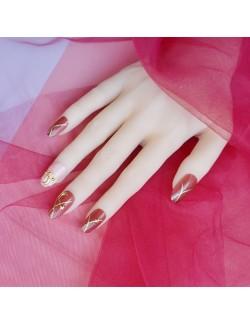 Faux ongles roses mignons ciel étoilé auto-adhésifs