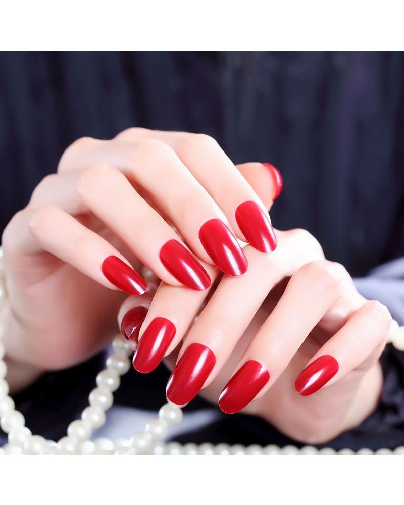 Red self-adhesive varnish fake nail