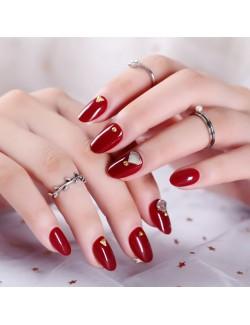 Adhésif faux ongle rouge décoration brillante