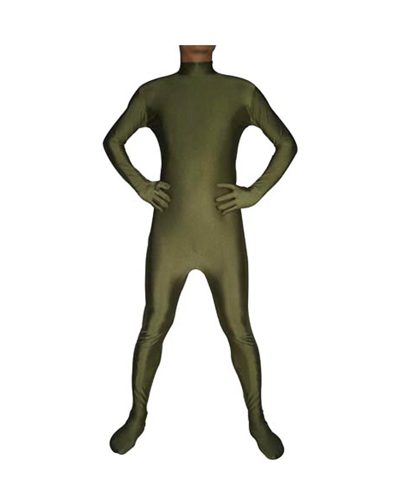 Army green second skin suit spandex unisex