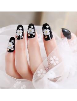 Adhésif faux ongles noir brillant décoration fleurs