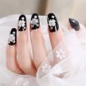 Adhesive false nail black shining fleurs decoration