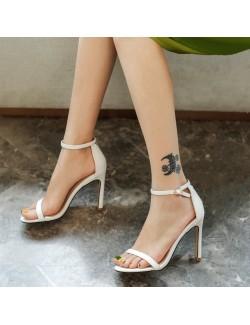 White strappy high heels sandals