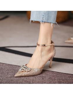 Sandales pointues à talon mi-haut avec strass