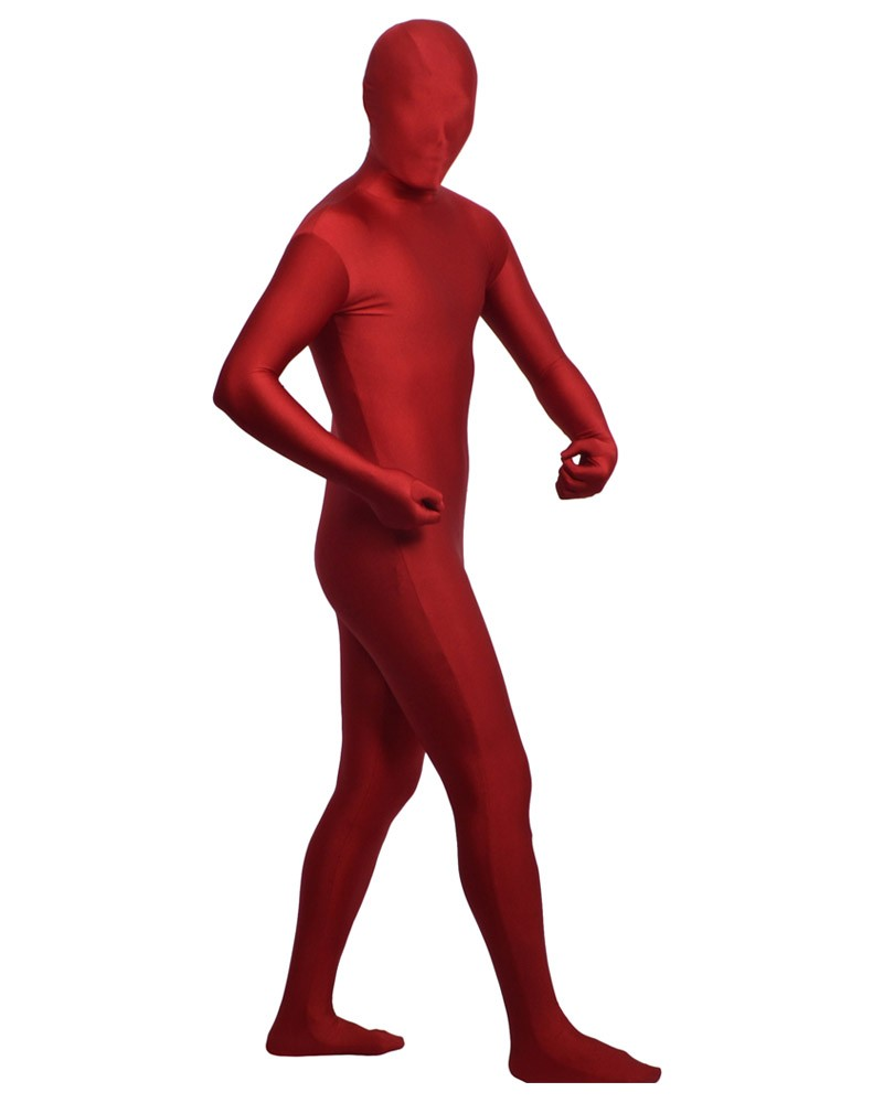 Burgundy color zentai spandex clothing