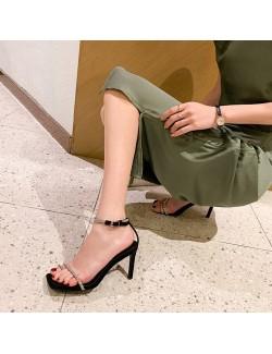 Sexy sandales à talons en strass