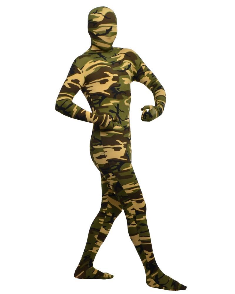 Zentai spandex clothing camouflage pattern