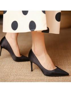 3 inch 8 cm black satin pointed heels