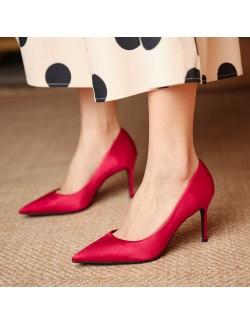 2021 scarlet satin pointed heels