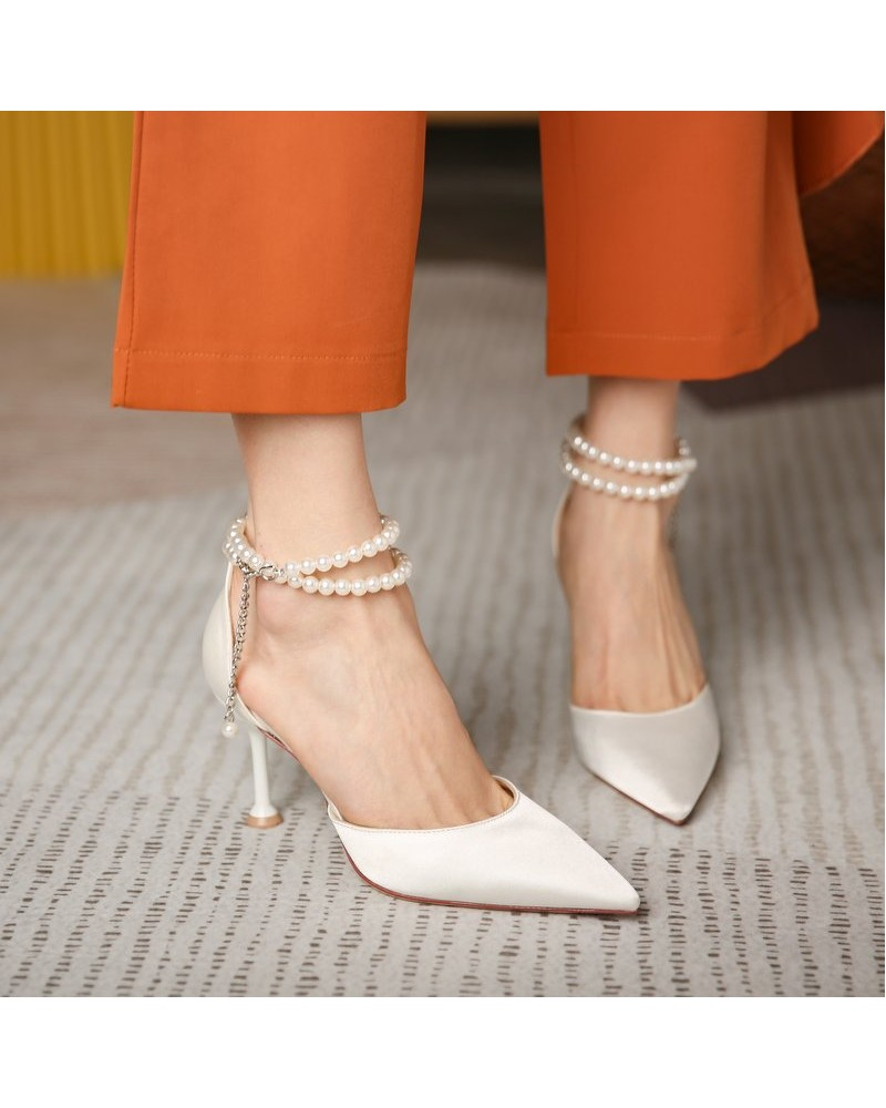 Ankle pearl strap white high heels