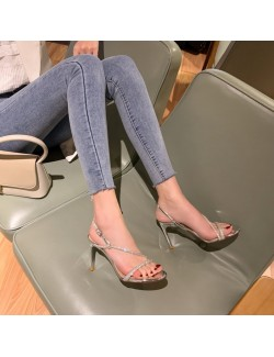 Mirror silver rhinestone strappy heeled sandals