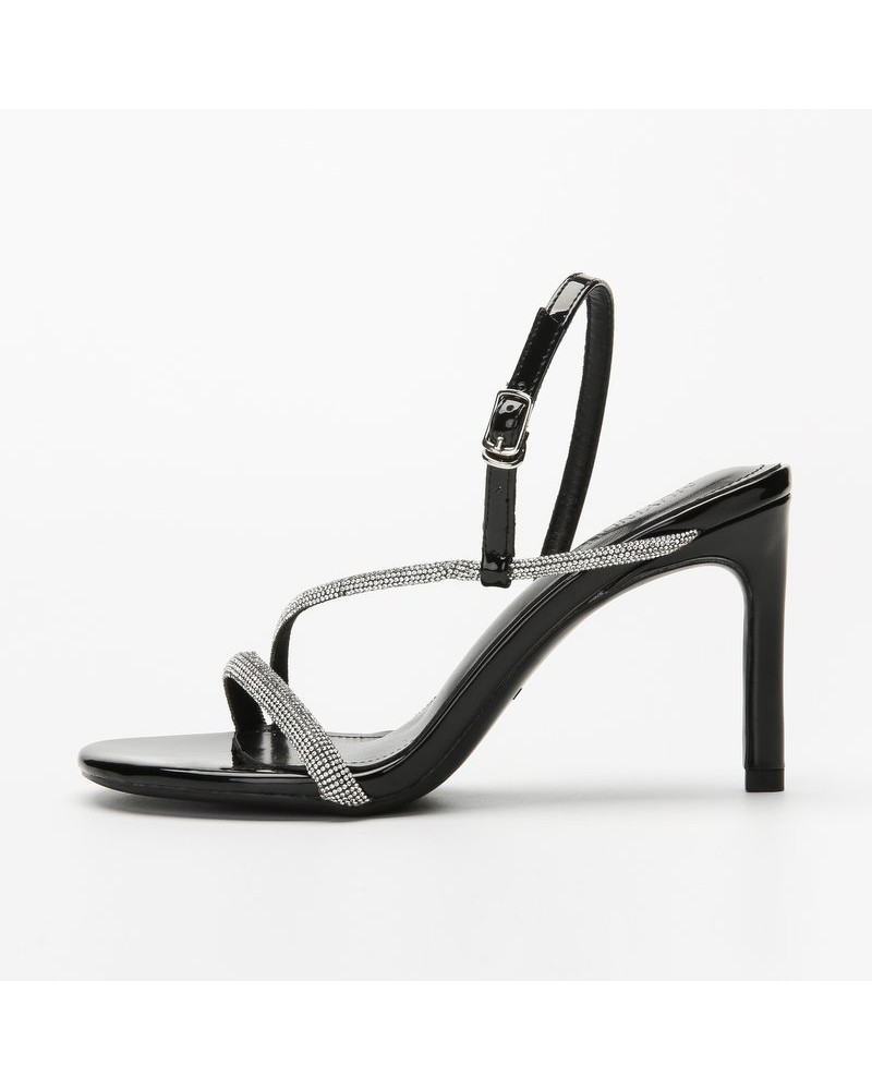 Black patent leather shiny strappy heeled sandals