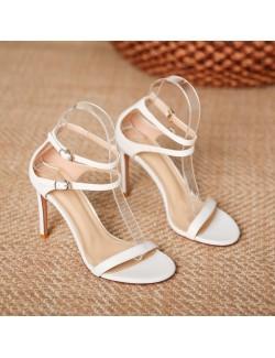 3 Inch strappy white heel sandals