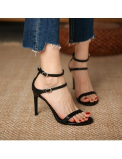 Double strap stiletto 3 inch heels sandals