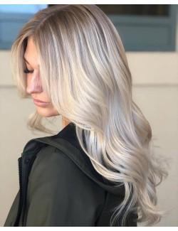 Perruque de cheveux ondulés blanc argent dégradé