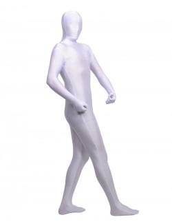Optical white zentai spandex outfit unisex