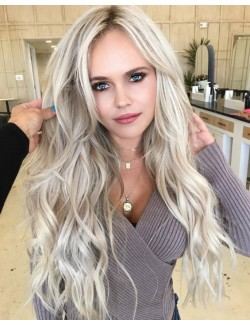 Long wave gold synthetic wig