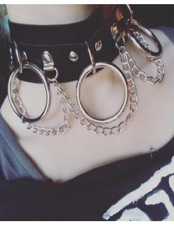 Punk choker necklace soft collar chain