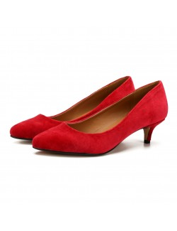 2 Inch plus size suede high heels