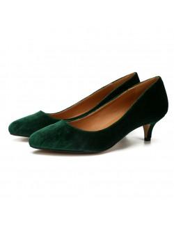 Dark green plus size suede heels