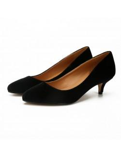 Matt black plus size suede heels