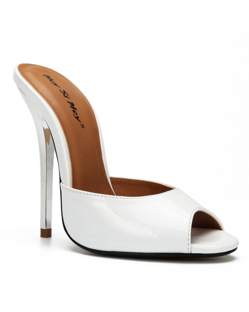 5 Inch white sexy heels slippers