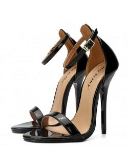 Black high heel sandals ankle straps