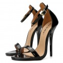 Black patent leather high heel sandals with ankle straps