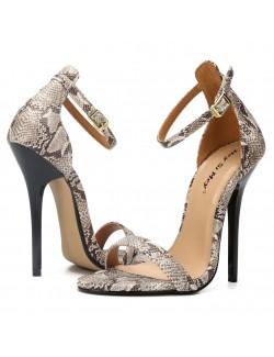 Pattern ankle straps high heel sandals